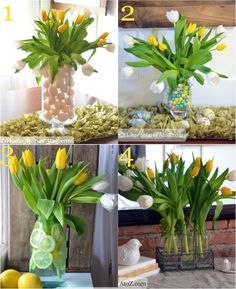 Four different easy ways to style tulips for Easter with vase tutorials.