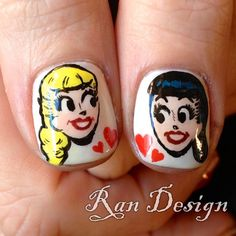 me and my bestie Archie Comic Books, Archie Comics, Comic Nail Art, Archie Betty And Veronica, Best Canvas, Paws And Claws, Girls Nails, Nail Envy, Cute Nail Designs