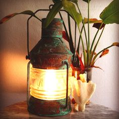 For a pirate theme?  Antique Copper Patina Electric Ship's Lantern - Nautical & Full of Charm.