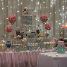 What a pretty candy buffet! By Trouli Graphics Candy Buffets. #candybuffets