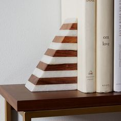 Wood and marble bookend
