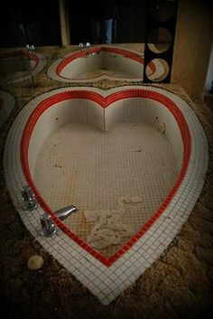 During the 60's one of the Pocono resorts brought happy honeymooners the tacky heart tub.