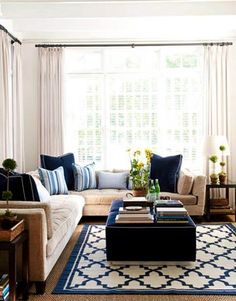 Blue and beige living room colors sand beige & navy blue comfy living room design with white paint wall color. Beige Living Rooms, My Living Room, Home And Living, Living Room Decor, Living Area, Small Living, Cream Sofa Living Room Color Schemes, Navy Blue And Grey Living Room, Cottage Living