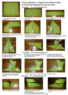 "The napkin version ""Goblin Slipper"". - Places like heaven . The napkin version ""Goblin Slipper"". – Places like heaven The napkin version ""Gob Christmas Napkin Folding, Christmas Napkins, Simple Christmas, Christmas Holidays, Christmas Crafts, Happy Holidays, Christmas Table Decorations, Decoration Table, Deco Table Noel"