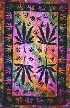 Marijuana Tie-Dye Tapestry, 60 in. x 90 in., SKU: ta-79