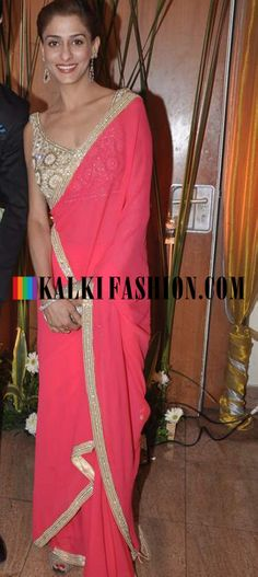 http://www.kalkifashion.com/ Shilpa Agnihotri in peach saree with embroidered blouse at Ravi Dubey and Sargun Mehta's reception bash.
