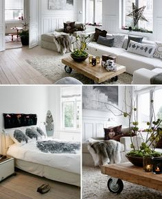 i love a white palette with grey and black accents! i want that living room!