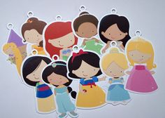 Would be cute strung as garland - Set of 10 Assorted Princess Favor Tags by The Birthday House. $6.00, via Etsy.