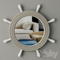Rope Crafts, Beach Crafts, Nautical Mirror, Mirror Decor Living Room, Bad Room Ideas, Living Room Tv Unit Designs, Ship Wheel, Nautical Bathrooms, Beach Room