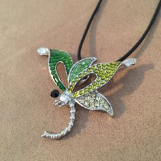 Dragonfly Pendant Dragonfly Necklace Shades of Green by HappyLilac
