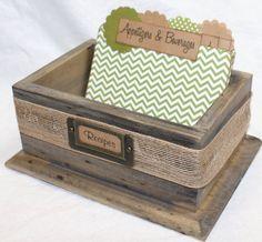 Recipe Box Barnwood Box Rustic Recipe Box by peachykeenday on Etsy