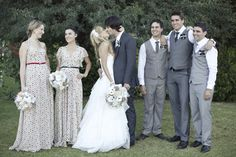 Not a fan of the bridesmaid dresses, but like the mixed grey groomsmen suits