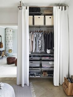 Creating an open closet does not require a lot of space, even you can store all your clothes in one room. See if you are able to create an open closet design Closet Curtains, Diy Curtains, Bedroom Curtains, Curtain Wardrobe Doors, Small Curtains, Apartment Closet Organization, Organization Ideas, Organizing, Bedroom Furniture
