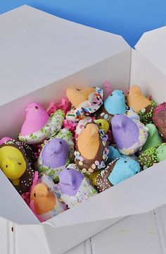 Peeps dipped in chocolate and sprinkles