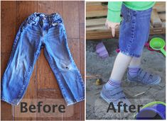 Diy for how to Hem jeans into shorts. This is a great budget saving tip when you have boys that put holes in the knees of all of their jeans. How To Hem Pants, How To Make Shorts, Baby Kids Clothes, Diy Clothes, Diy Shorts, Pants To Shorts, Sewing Shorts, Long Pants, Jean Shorts