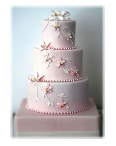 pale pink weddings | Pale Pink Wedding Cake With Orchids