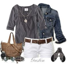 grey blouse, white shorts, brown purse