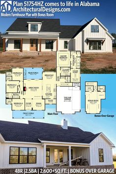 Architectural Designs Modern Farmhouse Plan 51754HZ client-built in Alabama! 4BR | 2.5BA | 2,600+SQ.FT.