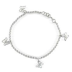 Bling Jewelry 925 Sterling Silver Open Butterflies Anklet Ankle Bracelet 10in * To view further for this item, visit the image link.