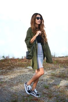 Parka Jacket + Basic Tee + Pencil Skirt + Vans Sneakers
