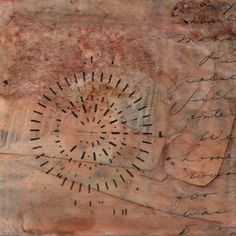 Dashes and Rays Handmade original mixed media collage. Sepia, burnt umber, brown, cursive handwriting, transfer. Free gallery matting. OOAK by paperwerks on Etsy #etsy