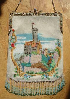 "CASTLE scenic BEADED purse, jeweled frame, scene of ""Burg Lichtenstein"", Germany"