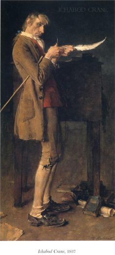 """Norman Rockwell """"Ichabod Crane"""", 1937 Story illustration for The Legend of Sleepy Hollow by Washington Irving. Norman Rockwell Prints, Norman Rockwell Paintings, Art Et Illustration, Illustrations, Peintures Norman Rockwell, Caricatures, Legend Of Sleepy Hollow, Pin Up, Halloween Art"""