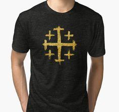 """Crusader's Cross - Gold Edition"" Tri-blend T-Shirts by Lidra | Redbubble"