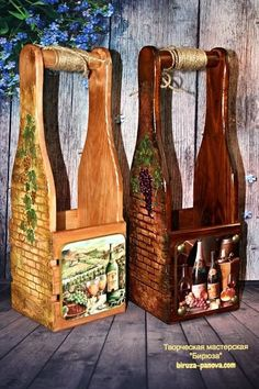 Decoupage Box, Decoupage Vintage, Wine Bottle Covers, Wine Gift Boxes, Wood Wine Racks, Gifts For Wine Lovers, Pretty Box, Clever Diy, Wooden Boxes
