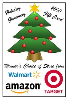 $500 Amazon, Wal-Mart, or Target Holiday Gift Card Giveaway