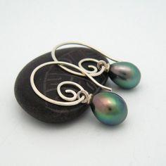 Tahitian Keishi Drops on Silver Spiral Earrings by MooreaDesign, $138.00