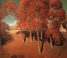Spring Oaks,by Grant Wood, 1932 Grant Wood Paintings, Iowa, Artist Grants, Wood Artwork, American Gothic, Early American, Autumn Trees, American Artists, American Realism