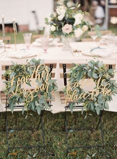 Rustic eucalyptus seat garnish: http://www.stylemepretty.com/2017/04/20/a-photographers-natural-light-stormy-blue-wedding/ Photography: Catherine Guidry - http://catherineguidry.com/