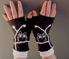 Black and white Embroidery mittens/women hand made by Zayade, $34.00