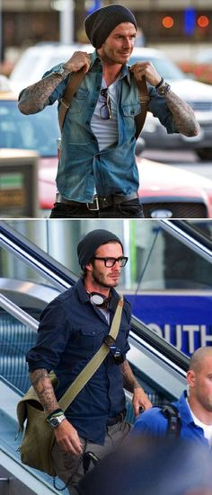 DAVID BECKHAM AIRPORT STYLE FASHION TATTOOS BEANIE BLACK THICK FRAMES EYEGLASSES DENIM SHIRT BUTTON DOWN BASIC TEE TSHIRT CANVAS MESSENGER BAG BACKPACK WATCH BELT MENS STYLE FASHION BLOG
