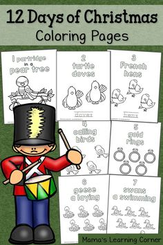 Download a set of 12 Days of Christmas Coloring Pages for your young learner!