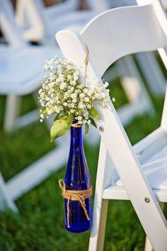 Cobalt Blue Glass Bottles|Rustic Country Wedding at Lake Oak Meadows|Photographer: Kayden Studios