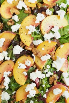 Fresh peach, goat cheese and candied walnut salad. Try this recipe out and you will end up falling in love.