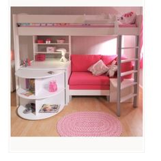 LOFT BED FOR A TEEN THIS WOULD BE SUCH A GOOD IDEA FOR MY ROOM AND MY SISTER WOULD GET ONE TO SO IT WOULD BE EASY TO SHARE A ROOM