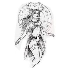 Dark Art Drawings, Amazing Drawings, Pencil Art Drawings, Art Drawings Sketches, Tattoo Sketches, Tattoo Drawings, Taurus Tattoos, Zodiac Art, Tattoo Ideas