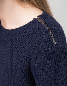 BSK round neck shoulder zip jumper - Sweaters & Cardigans - Bershka United Kingdom