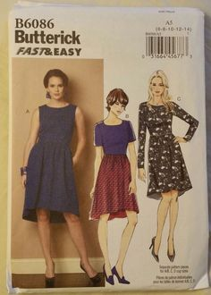 Butterick Pattern B6086 Misses Dress 3 Styles sizes 6-14 NEW Free Shipping #Butterick