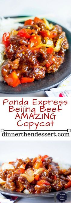 Panda Express copycat for Beijing Beef is prepared with crispy strips of marinated beef, bell peppers and sliced onions, tossed in the wok with a tangy sweet and spicy sauce.