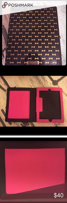 """Kate Spade IPad case Cute black case with gold bows..hot pink inside. Can stand upright. Mine is the only one this style I could find on posh. Price is FIRM. Fits my 7.5"""" x 9.5"""" iPad. Note: gold star sticker where volume slot is...was put in by me for easy access kate spade Accessories Laptop Cases"""