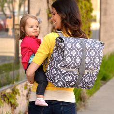 JJ Cole Diaper Bag Backpack Grey Floret - Final Sale @LaylaGrayce