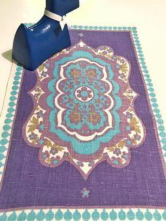 Vintage tablecloth swedish tablecloth floral print mid century