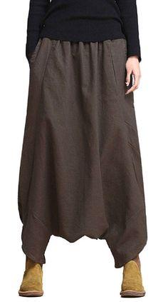 Loose Women Solid Elastic Waist Pockets Harem Pants
