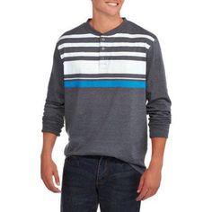 Big Men's Variegated Stripe Long Sleeve Henley, Size: 4XL, Gray