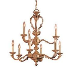Classic Lighting Oxford 27-In 9-Light Polished Brass Vintage Candle Ch