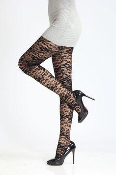 Damen Leggings Fantasie mit Spitze 80 DEN